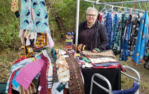 Helen Schannauer stand with her crafts under her tent at the stroll