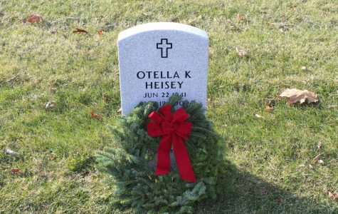 A wreath laid on a veteran's grave at Ft. Indiantown Gap.