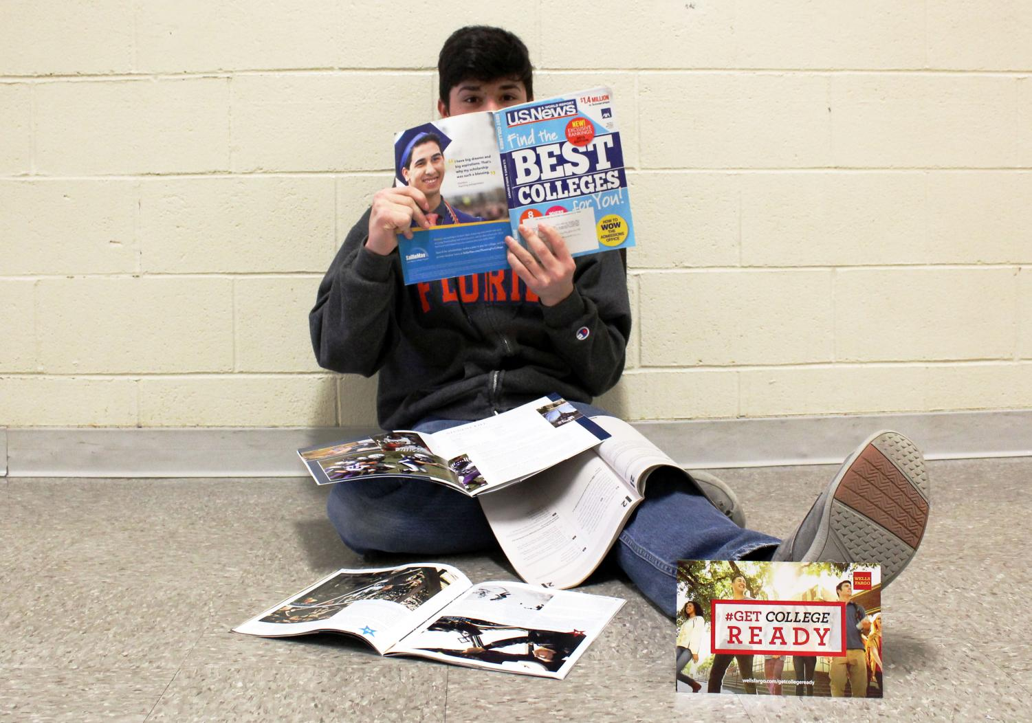 Ben Brosius researching different college options.