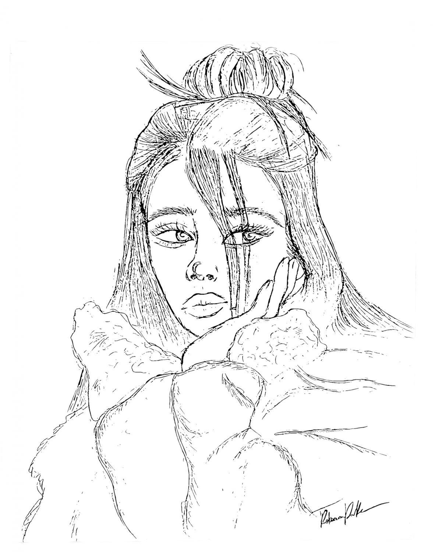 Illustration of Billie Eilish by Rebecca Parker.