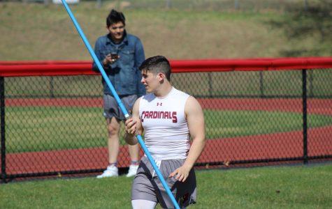 Dalton Kintzel getting ready to throw javelin at yesterday's meet against Blue Mountain.