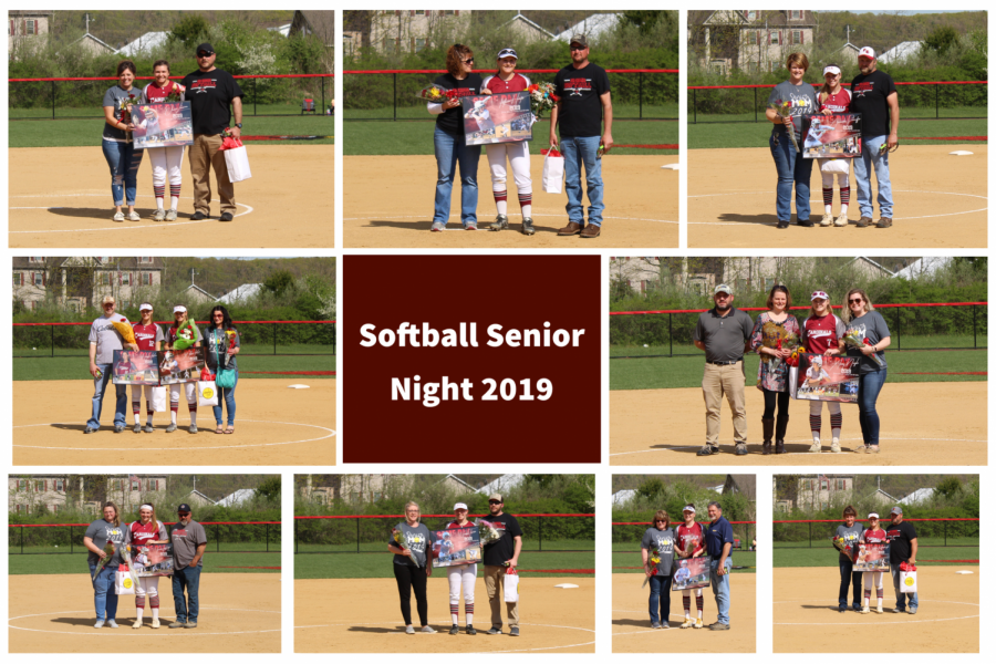 All of the Pine Grove Lady Cards Softball graduating senior players