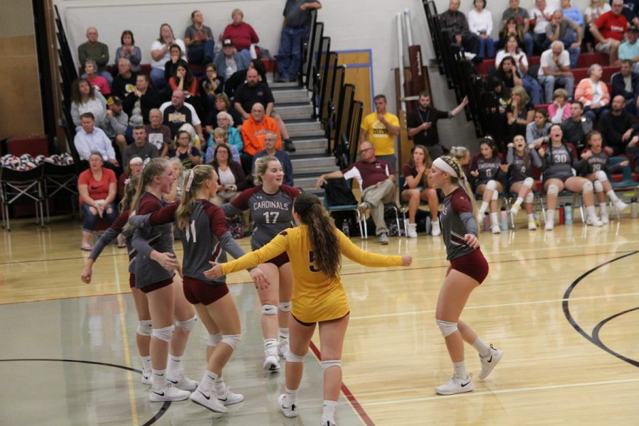 The Lady Cards celebrate after scoring a point against the Lady Panthers.
