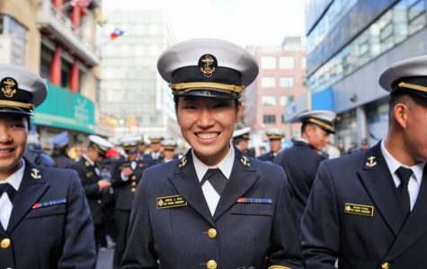 Julia Zhu participating in last year's Veteran's Day parade in New York City. The Naval Academy was included in the parade lineup.