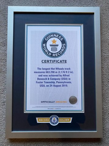 Guinness World Record Plaque for the longest Hot Wheels Track.