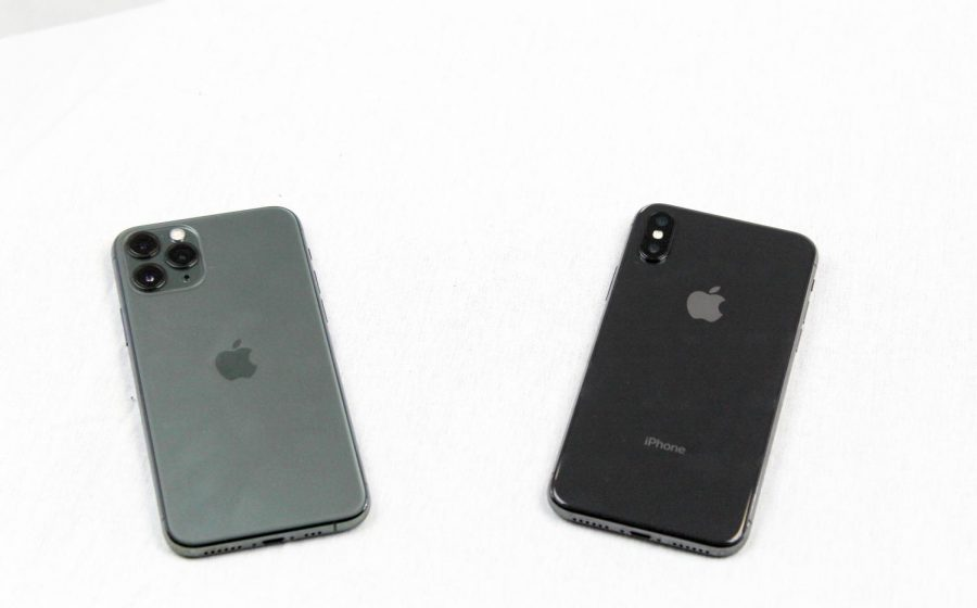 The iPhone 11 Pro (left) and the iPhone XS (right) side by side