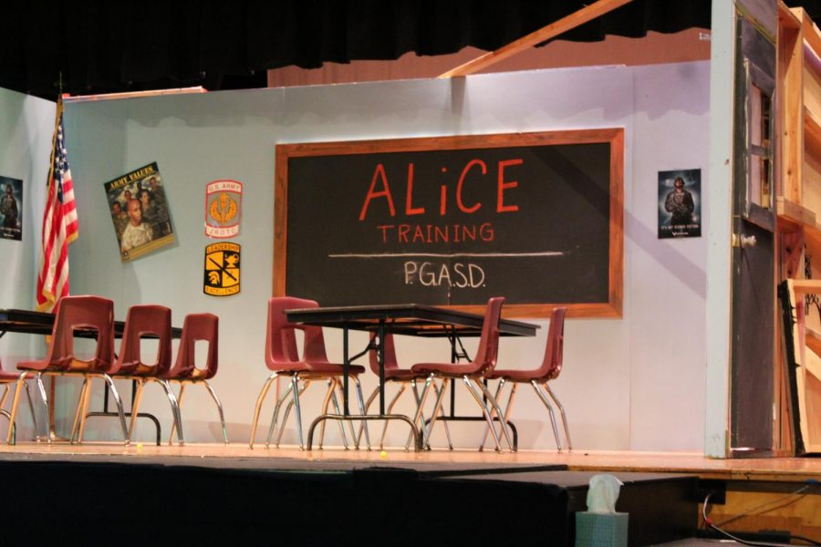 This was the ALICE classroom set up for the assembly to show students.