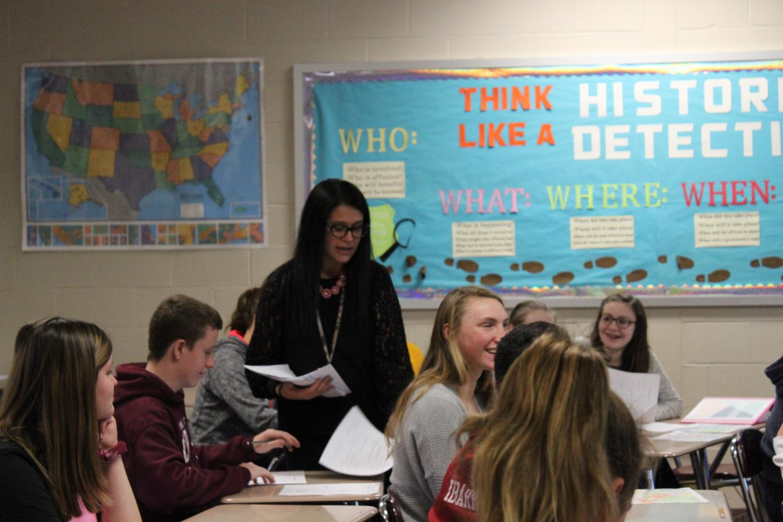 Ms. Breiner, advisor of History Club and Rho Kappa History Honor Society teaching her Honors American History Class.