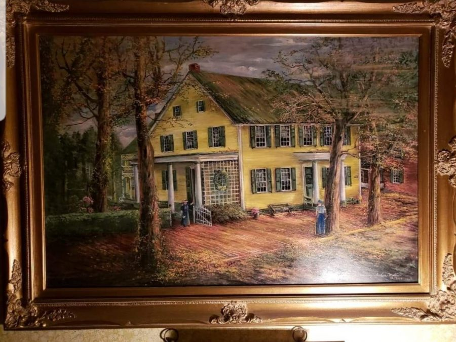 Margery's painting of her home, Nutting Hall. One of the two acrylics she's ever done.