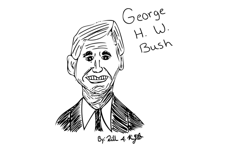 Drawing of George H. W. Bush by Dillon Kintzel.