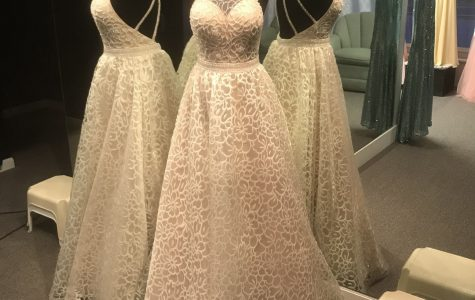 This gorgeous white prom dress on display at Special Moments Bridal Shop.