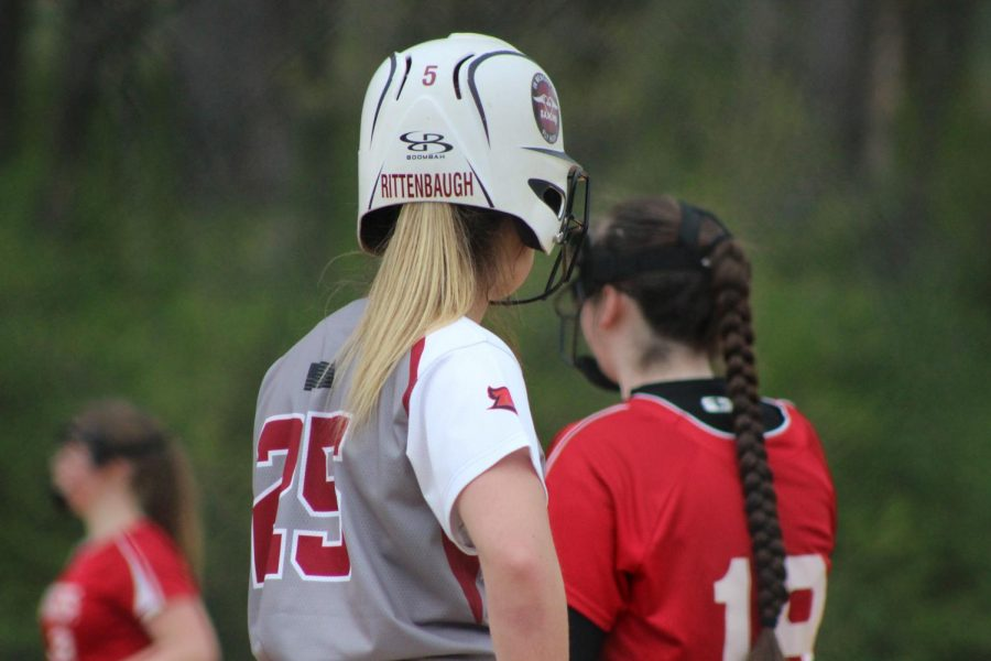 Kate Rittenbaugh getting ready to run the bases to second base, if a teammate gets a hit.