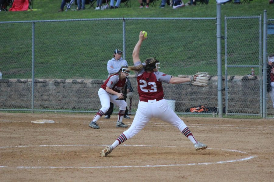 Olivia+Lehman+starting+her+pitching+motion+against+Mahanoy.