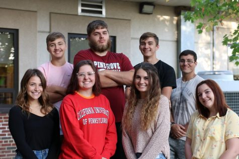 Final court contestants, Front Row (Left to Right): Autumn Behrent, Meghan Sarge, Tessa Olt, Kathleen Stump. Back Row (Left to Right): Brandon Wolff, Keith Koppenhaver, Ethan Tucker, John Bohr. Missing in picture is Angela Diffalco and Trey Reynolds.
