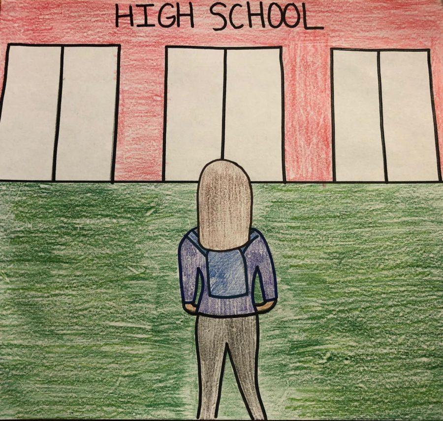 High School Freshman Girl Looking at the High School