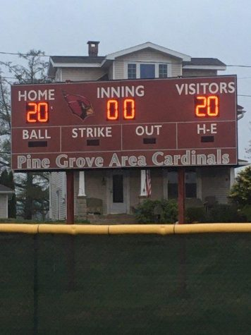 Walter Stump Stadium displaying a score of 20-20 on the scoreboard to show support for the graduating seniors.