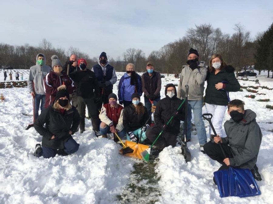 SADD at the Indian Town Gap shoveling snow for the buried soldiers.