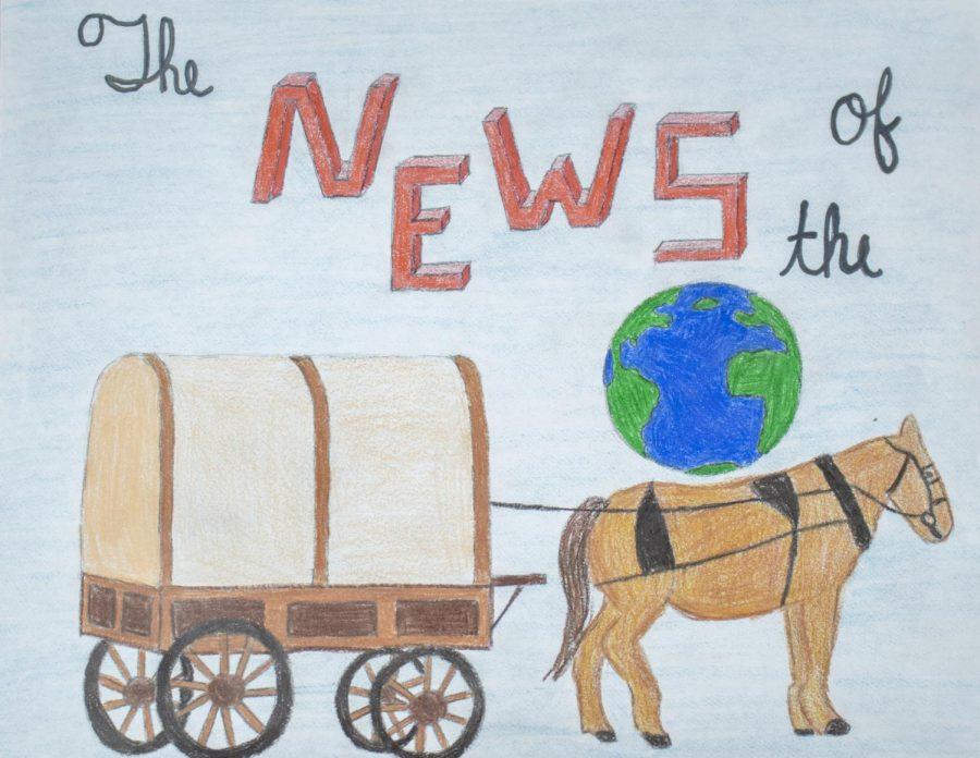 An illustration of Captain Kidd and Johanna in a wagon.