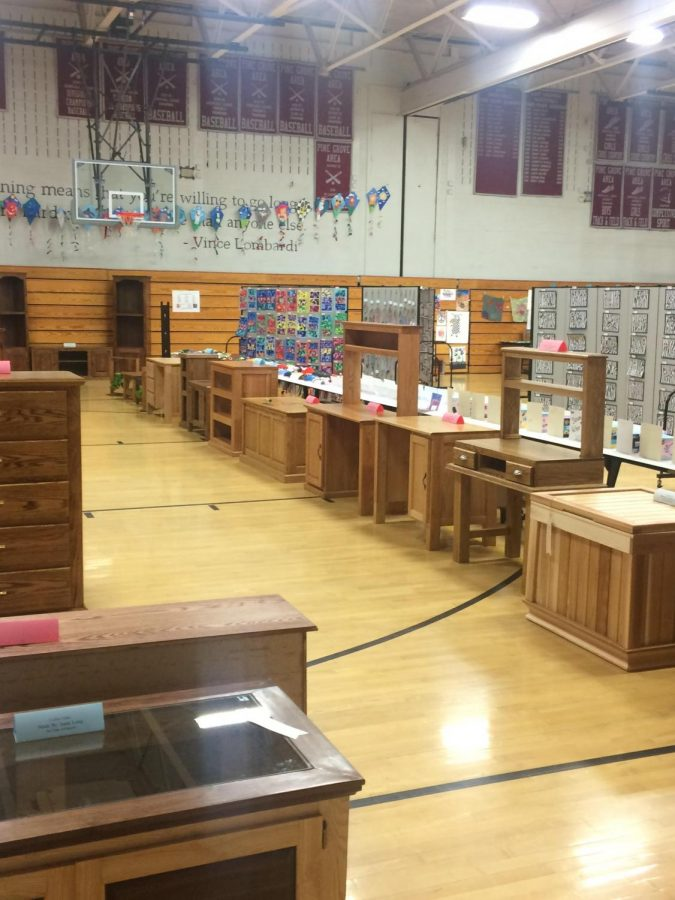 Students WoodWorking projects from the 2019 WoodWorking Show.