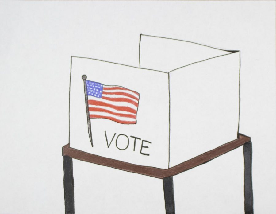 An illustration of a voting ballet box.