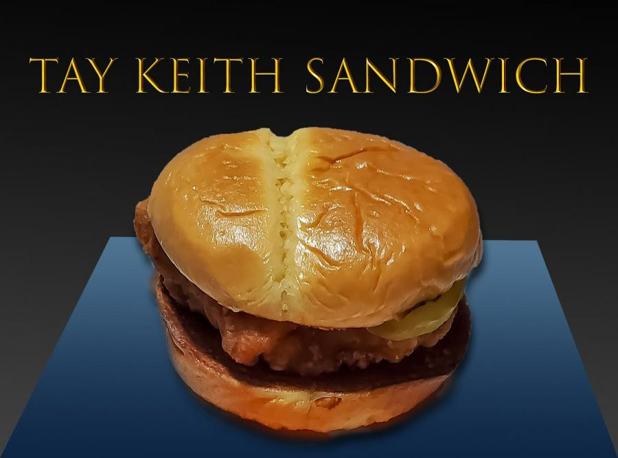 A photograph of the new Tay Keith Sandwich from McDonald's.