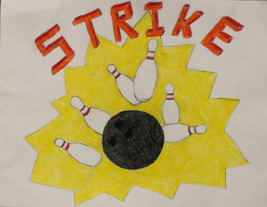A drawling of a bowling ball striking out the all the pins.