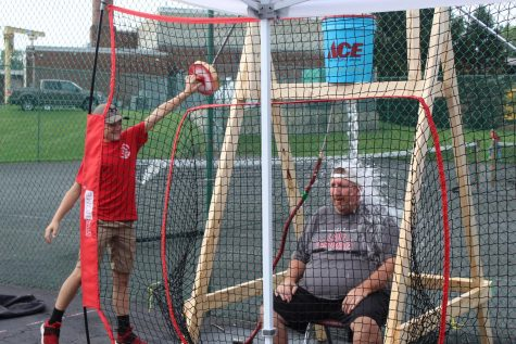 Brandon Gibson dunking Mr. Felty at the dunk tank.