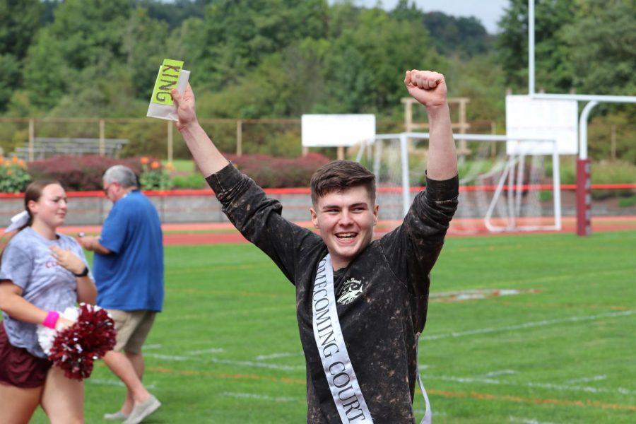 Toby Herring, senior, celebrating winning Homecoming King.